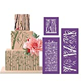 ART Kitchenware 16.7''×6.3'' 3pcs Bamboo Nature Mesh Stencil Kit Cake Paiting Stencil Set Template Mold Cake Decorating Bakery Tool MST-10/11/12 Purple Color