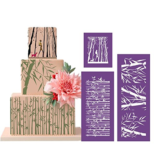ART Kitchenware 16.7''×6.3'' 3pcs Bamboo Nature Mesh Stencil Kit Cake Paiting Stencil Set Template Mold Cake Decorating Bakery Tool MST-10/11/12 Purple Color by AK ART KITCHENWARE