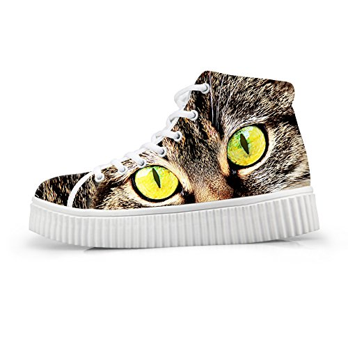 HUGS IDEA Fashion Cat Face Print Women Sneakers High Top Shoes Platform Cat Face 10 l5qGIER