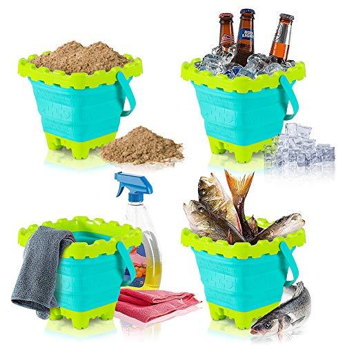 Shindel 2.7L Collapsible Sand Bucket, 3PCS Foldable Pail Buckets Silicone Collapsible Buckets, Kids Sand Beach Bucket, Sand Toys