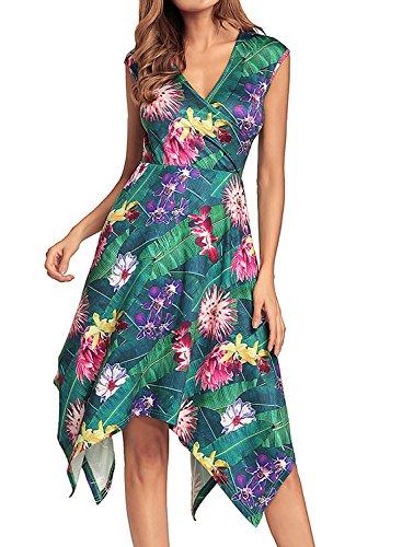 Tank Dress Tropical (REMASIKO Women's Sleeveless Summer Casual Swing Sundress Flare Floral Tank Dress XXL Green)