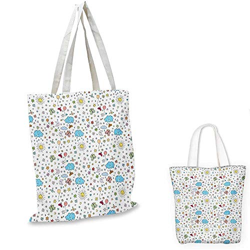 Kids non woven shopping bag Joyful Day in Nature Theme Clouds Butterflies Smiling Sun Ladybugs and Flowers Sketch fruit shopping bag Multicolor. 14