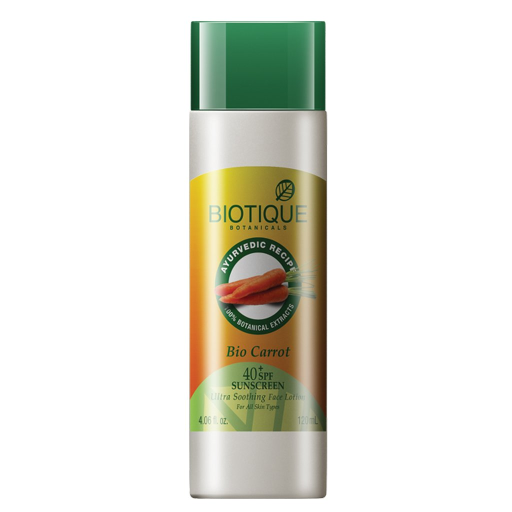 Biotique Carrot Lotion 40+ Spf Uva/Uvb Sunscreen Ultra Soothing Face Lotion 120Ml/4.06Fl.Oz.