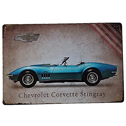 Placas Decorativas Vintage metalicas Chevrolet Corvette Stingray Carteles Coches