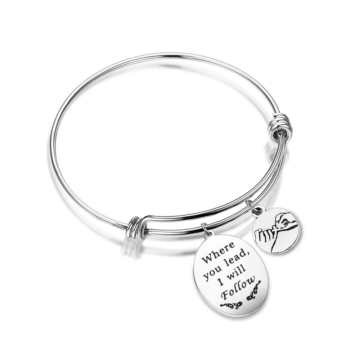 HOLLP Gilmore Girls Mother Daughter Bracelet Where You Lead I Will Follow Friendship Jewelry (Bracelet-S)