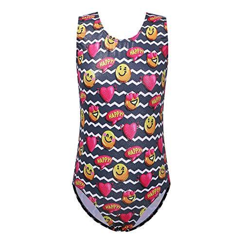 (TFJH E Leotards for Girls Gymnastics Shiny Ballet Dancewear Bodysuits Wave Smile face Happy Red 10-11years,149 Black)
