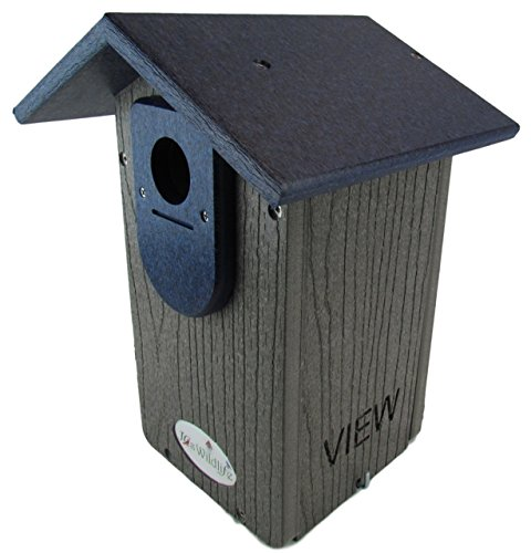 JCs Wildlife Gray Recycled Ultimate Bluebird House W/Blue Roof ()