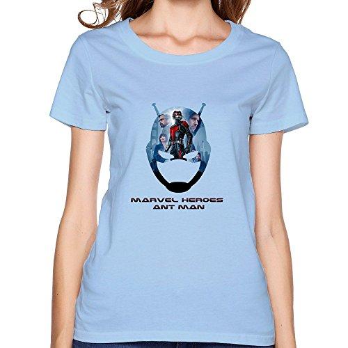 [Women's Design Screw Neck Tshirts/Ant Man SkyBlue] (Smiley Movie Mask)