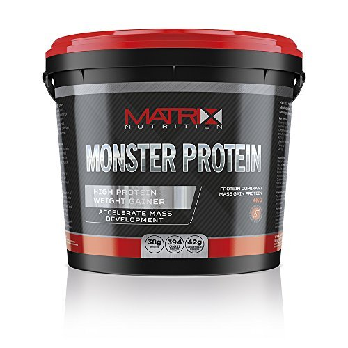 Matrix Nutrition Monster Protein 4KG is the highest protein content weight gainer in our range, scientifically engineered to only develop quality lean muscle mass. (Banana Cream) by Matrix - Matrix Protein Mass Lean