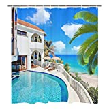 Tropical Holiday House Art Print Shower Curtain Ocean Beach Palm Tree Shower Curtain Set with 12 Hooks, Durable Waterproof Bath Curtain
