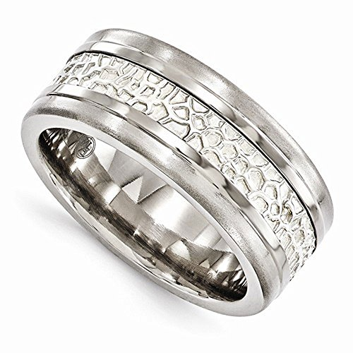Edward Mirell Titanium with Sterling Silver Inlay 9mm Wedding Band - Size 13 by Edward Mirell