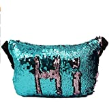Waist Pack, Mermaid Sequins Flake Fanny Crossbody Purse Hip Bag for Outdoors Traveling Casual Running Hiking Cycling