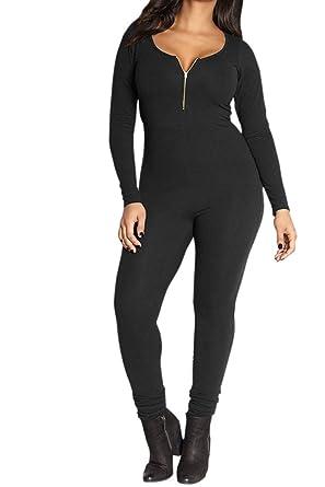 dce7fefa7d6b VamJump Womens Fall Zipper Crewneck One Piece Tight Jumpsuit Pants Black S