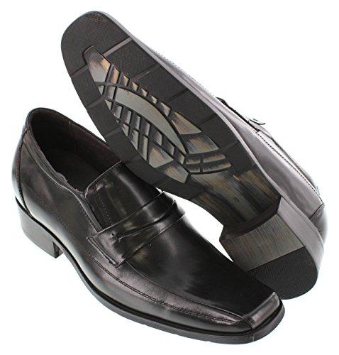 calto–g60705–7,1cm Grande Taille–Hauteur Augmenter Chaussures ascenseur–en cuir noir pour homme