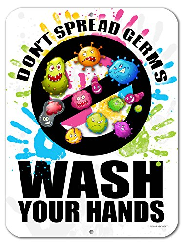 Dont Spread Germs Wash Your Hands Kids Bathroom - 9 x 12 inch Metal Aluminum Novelty Sign Decor - Made in The USA