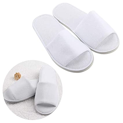 Producto nuevo 5 pares blanco puntera abierta toalla Hotel Zapatillas desechables zapatillas de invitados