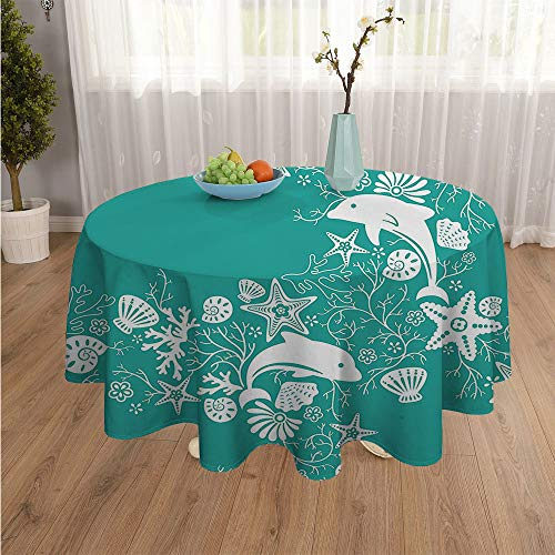 SATVSHOP Round Polyester Tablecloth tablecloth-40Inch-Most Home Decor.Dolphin and Flower sea Flower Pattern Starfish Coral Shell Wallpaper Style Art Blue Green White.