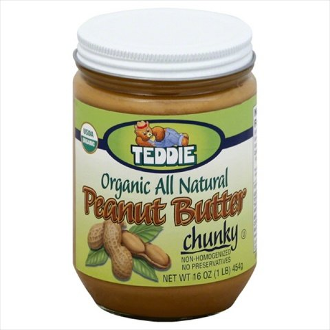 Teddie 16 oz. Chunky Organic Peanut Butter - Case Of 12