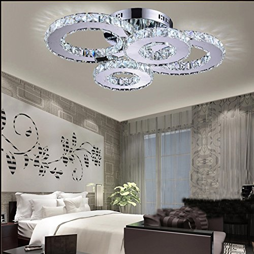 LightInTheBox LED Crystal Lamp Atmosphere Living Room Lamp Creative Ceiling Lamp Bedroom Lamp Deluxe Round Hall Lamp Room Lamp Flush Mount (White)