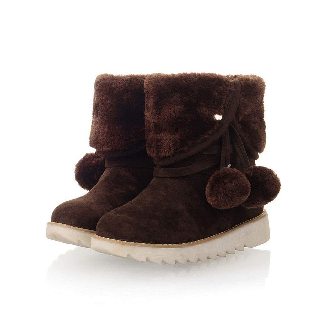 Hy Damen Stiefel Winter Wildleder Warm Windproof Schnee Stiefel Stiefel Academy Flach Student Comfort Stiefelies Damen Groß Winter Stiefel Größe  34-43 (Farbe   B Größe   41)