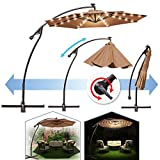 BenefitUSA 9' Cantilever 40 LED Light Patio Umbrella Outdoor Garden Sunshade (Tan)