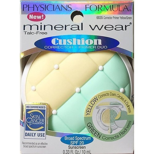 Physicians Formula Mineral Wear Cushion Corrector + Primer Duo, 6835 Yellow/Green (Pack of 2)