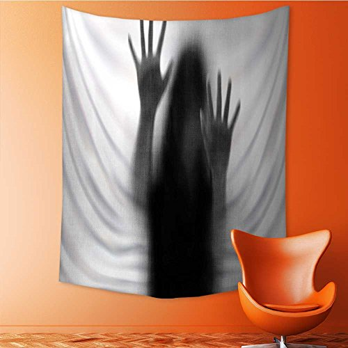 AmaPark Tapestry Wall Tapestry Silhouette of Woman behind the Veil Scared to Death Obscured Paranormal Gray Wall Hanging Yoga/Picnic/Camping Mat 54W x 72L Inch by AmaPark