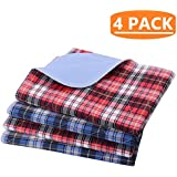 """KOOLTAIL Washable Pee Pads for Dogs - 4 pack 24"""" x 36"""" Plaid Puppy Potty Training Pads, Reusable Whelping Pads Blue & Red"""