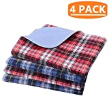KOOLTAIL Washable Pee Pads for Dogs - 4 pack 24'' x 36'' Plaid Puppy Potty Training Pads, Reusable Whelping Pads Blue & Red