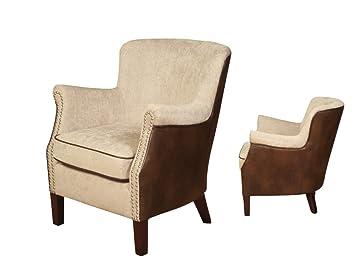 The One Henley Moderno Fusion WINGBACK sillón de Piel Tejido ...