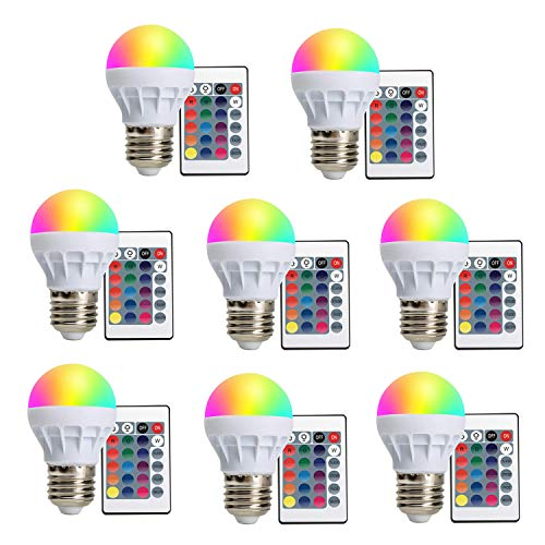 LVJING 16 Color Changing Light Bulb 8 Pack, Dimmable RGB LED Bulb with Remote Control, Mood Lighting for Home Decor Stage Party (15 Watt Equivalent-E26/E27)