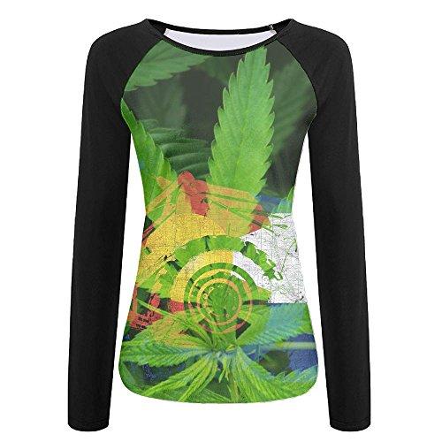 CMEY Women's Colorado and Marijuana Weed Fashion Long Sleeve Tee Casual T-Shirt