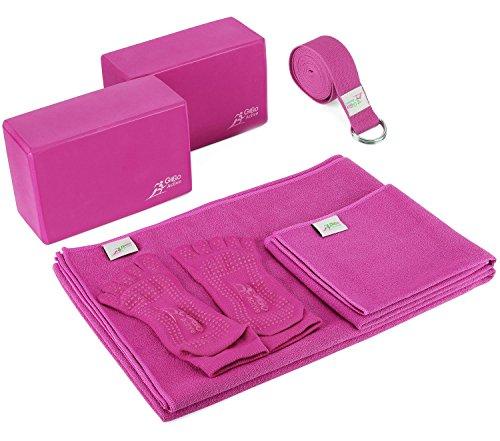 Go Go Active Yoga Accessories Set - Includes 2 Yoga Blocks, 1 Microfiber Non Slip Mat Towel 72X24, 1 Microfiber Hand Towel 24X15, 1 Yoga Strap, 1 Pair Of Yoga Socks (Hot Pink)