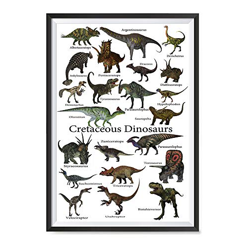 EzPosterPrints - Dinosaurs Worlds Dinosaurs Families Posters - Poster Printing - Wall Art Print for School, Kids Room,Home Office Decor - Cretaceous Dinosaurs - 24X36 inches