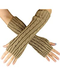 Franterd Women Winter Fall Hemp Flowers Fingerless Knitted Long Gloves