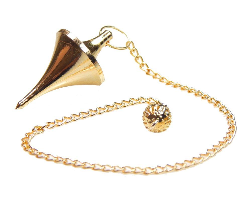 Myhealingworld Space Ship Design UFO Brass Metal Healing Dowsing Pointed Pendulum.