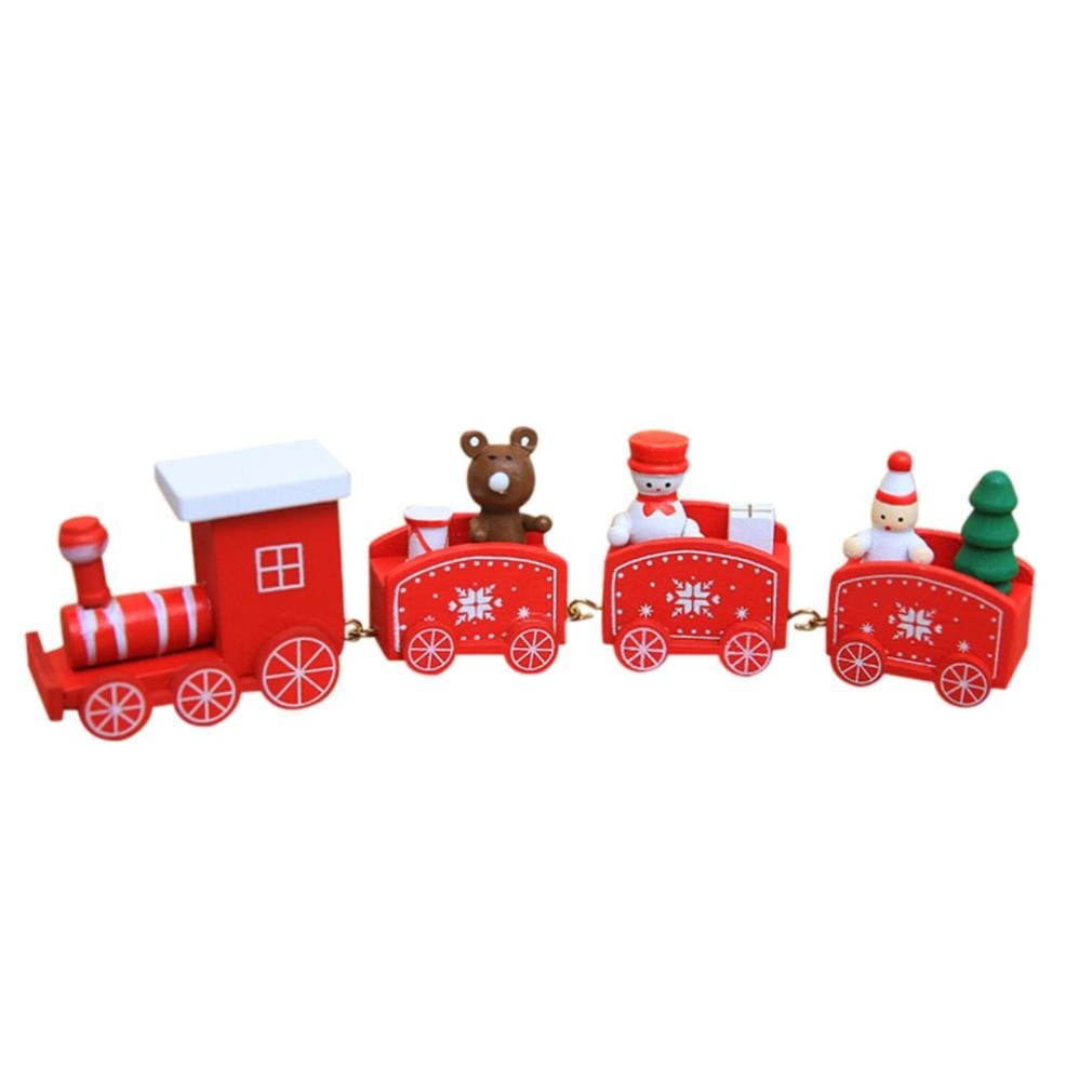 Lavany Christmas Decorations Woods Small Train Children Kindergarten Gift Decorative Stitching Toy (Green)