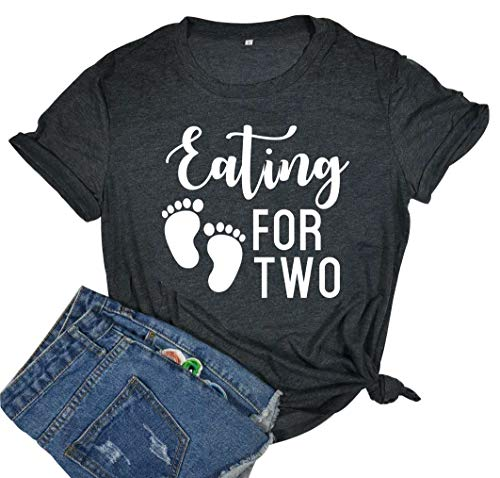 YUYUEYUE Eating Tacos Two Pregnancy Announcement Graphic Cute T Shirt Women Casual Short Sleeve Tops Tee (Large, -