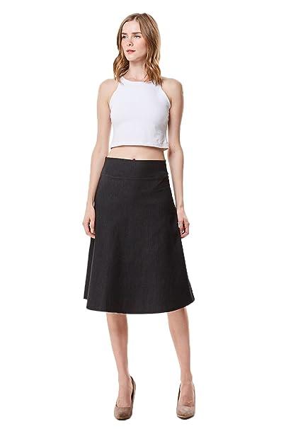 e21ad1c963f61d MoDDeals High Waist A-Line Below The Knee Flared Midi Skirt Stretch Woven,  Black