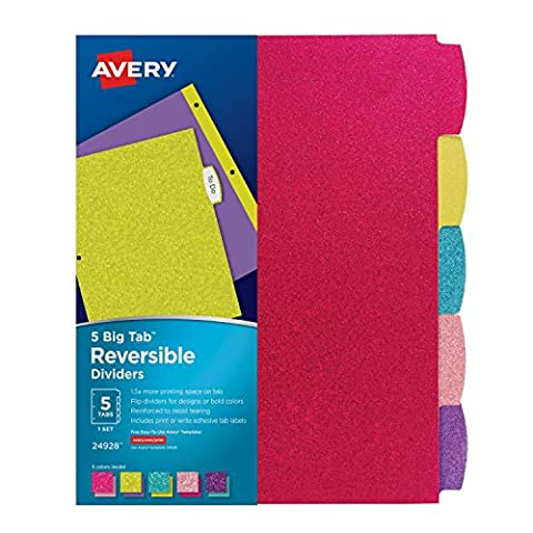 Avery Big Tab Reversible Fashion Dividers, 5 Tabs, 1 Set, Assorted Glitter Colors (24928) (Binders 3 Ring Fashion)