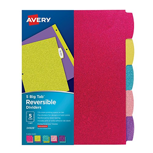 Avery Big Tab Reversible Fashion Dividers, 5 Tabs, 1 Set, Assorted Glitter Colors (24928)