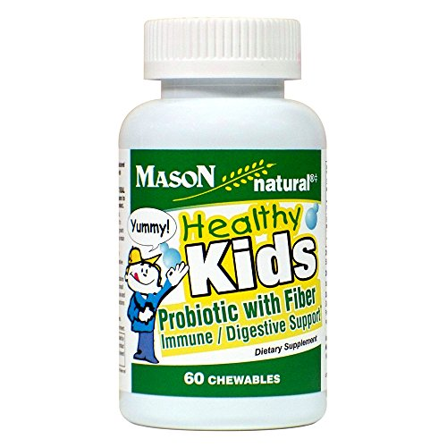 Mason Natural, Healthy Kids Probiotic with Fiber Immune and Digestive Support, Chewable Tablets, 60 Count, Children's Dietary Supplement Supports Healthy (Chewable Tablet Fiber Supplement)