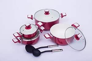 سفاجو طقم قدور سراميك طبخ 10 قطعه احمر