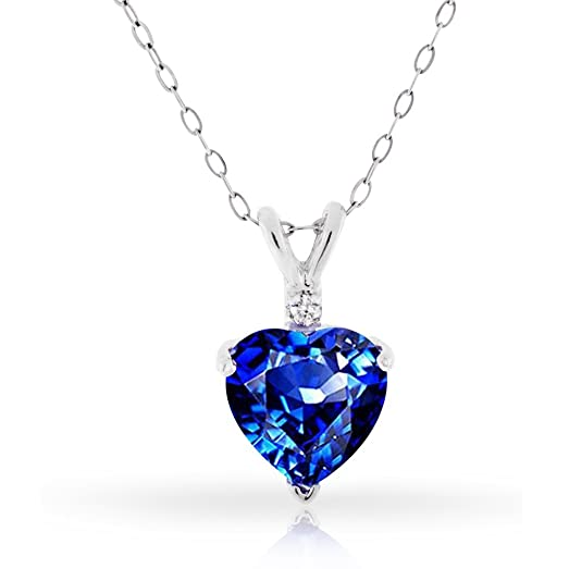 Amazon 300ctw simulated sapphire and diamond heart shaped 300ctw simulated sapphire and diamond heart shaped pendant in sterling silver 18 aloadofball Gallery