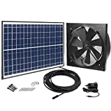 GBGS Solar Powered Exhaust Fan AC Power Backup, 1750CFM, 4200sq/ft Ventilation, IP68 Brushless DC Motor, Adjustable Solar Panel, 40db, 47.5ft Cable, Double Rust Free