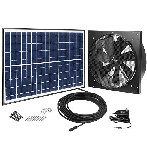 (GBGS Solar Powered Exhaust Fan AC Power Backup, 1750CFM, 4200sq/ft Ventilation, IP68 Brushless DC Motor, Adjustable Solar Panel, 40db, 47.5ft Cable, Double Rust Free 10 Years Warranty)