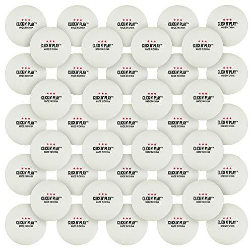Click N' Play Ping Pong Balls 3-Star Premium Advanced Training Tournament Grade Table Tennis Balls White (Pack of 50)