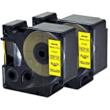 Compatible DYMO D1 Label Tape 2Packs 53718 Black Print on Yellow Cassette Cartridge Refills for Label Manager Label Makers ,1'' W x 23' L(24mmx7m)