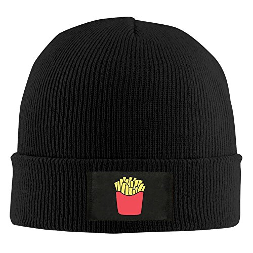 Unisex French Fries Images Elastic Knitted Beanie Cap Winter Outdoor Warm Skull Hats One Size Black ()