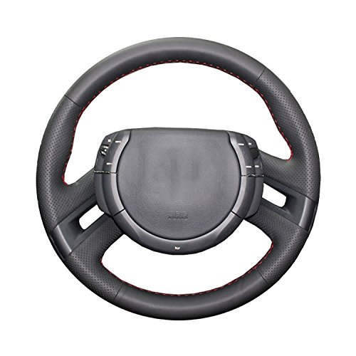 Artificial Leather car steering wheel braid for Citroen C4 Picasso 2007-2013,Yellow thread
